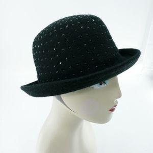 BCBG Black Wool Sparkly Bowler Hat